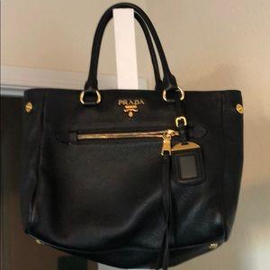 Prada black leather authentic handbag